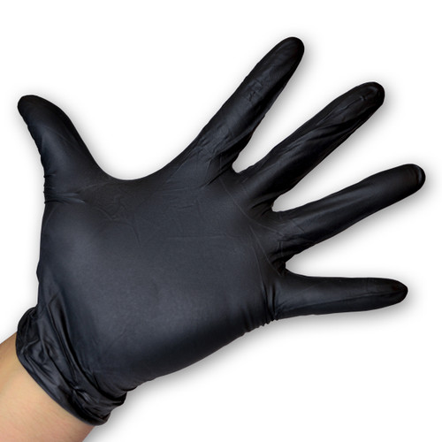 Black Nitrile Gloves Powder Free - 6 Mil, shown palm out