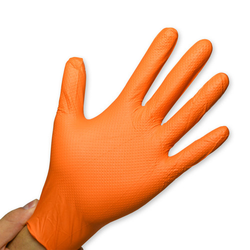 Orange Nitrile Gloves Powder Free - 6 Mil - Raised Grip, shown palm out