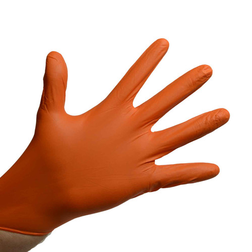 Orange Nitrile Gloves Powder Free - 5 Mil, shown palm out