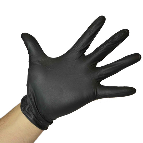 Black Nitrile Gloves Powder Free - 9 Mil, shown palm out