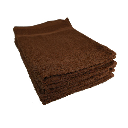 Cotton Terry Towels 16x27 Brown - Special, shown in a stack