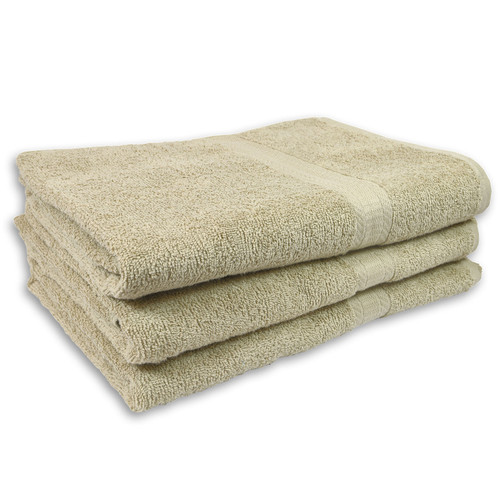 Cotton Terry Bath Towels 27x54 Linen, shown in a stack of three