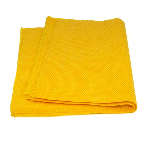 Yellow Treated Stretch Dust Cloth 24x24, shown folded in half
