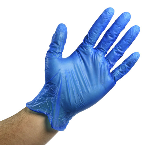 Blue Vinyl Gloves Powder Free - 3 Mil, shown palm out