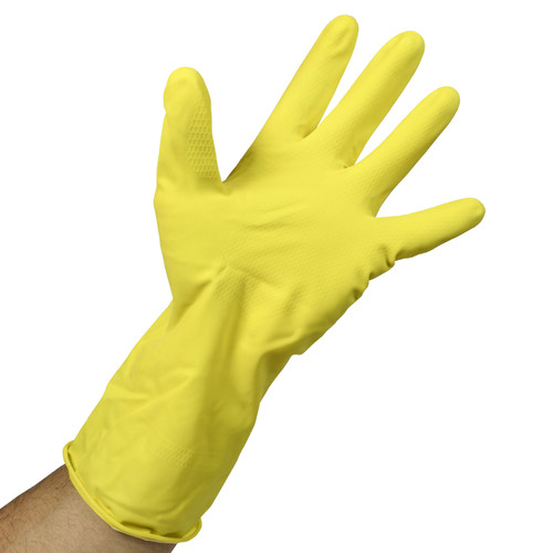 Yellow Latex Gloves Flock Lined - 16 Mil, shown palm out