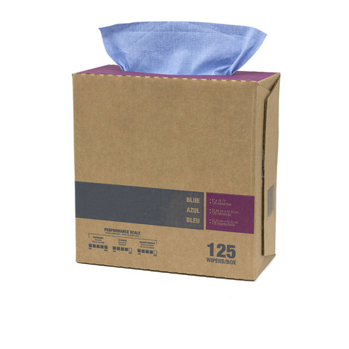 Sontara® industrial wipes, pop up box, creped blue, shown at an angle