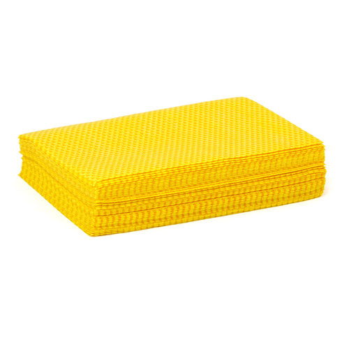 Yellow Treated Stretch Dust Cloth Quarter Fold 12x17, shown in a stack