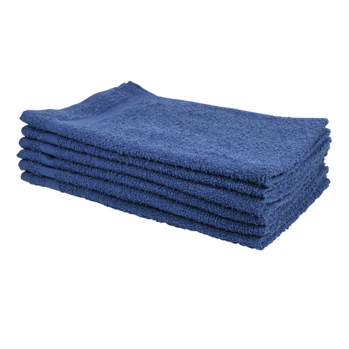 Cotton Terry Towels 16x27 Navy - Special, shown in a stack
