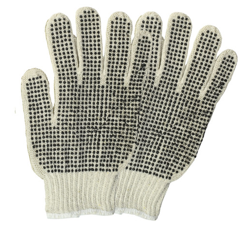 Cotton PVC Dotted String Knit Gloves Natural Double Sided, shown as a pair