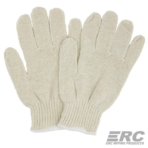 Cotton String Knit Gloves Natural, shown as a pair