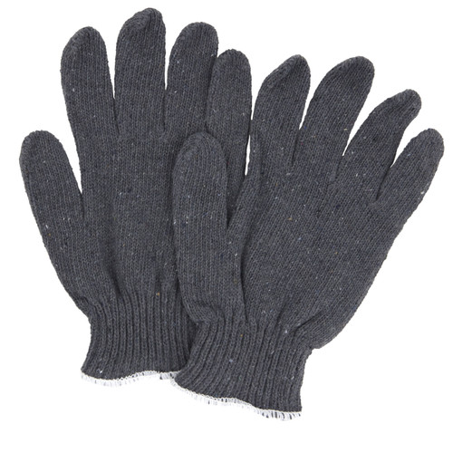 Cotton String Knit Gloves Gray, shown as a pair