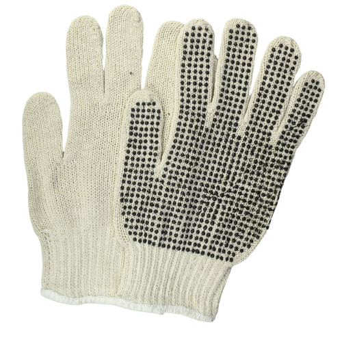 Cotton PVC Dotted String Knit Gloves Natural Single Sided, shown front and back