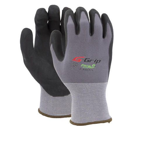 Nitrile Foam Coated Nylon Gloves Gray/Black, shown front and back