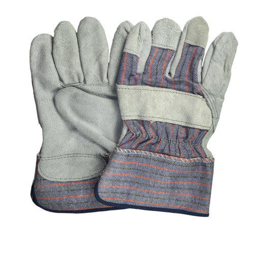 Leather Palm Gloves Standard Grade, shown front and back