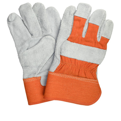 Leather Palm Gloves Premium Grade, shown front and back