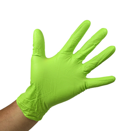 Green Nitrile Gloves Powder Free - 6 Mil - Raised Grip, shown palm out