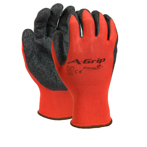 A-GRIP Latex Palm Coated Nylon/Poly Gloves, shown front and back
