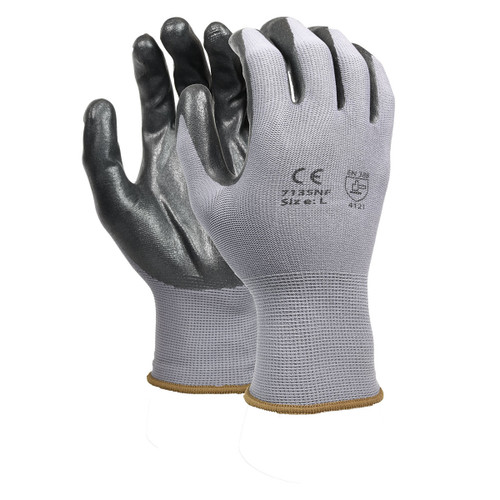 Nitrile Foam Coated/Flat Dipped Nylon Gloves Gray, shown front and back
