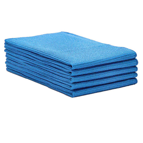 Microfiber Waffle Weave Towels 16x24 Heavyweight Dark Blue 50 pack, shown in a stack