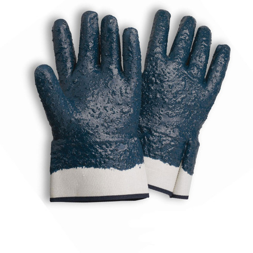 Nitrile Coated Gloves Jersey Lined Rough Finish, shown front and back