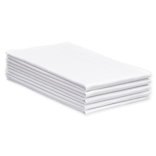 Bulk Cotton Huck Towels Heavyweight New White, Shown in a stack