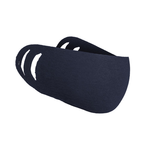 Face Cover Navy, shown from the side with two earhole slots