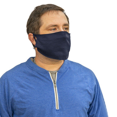 Face Cover Navy, shown in use