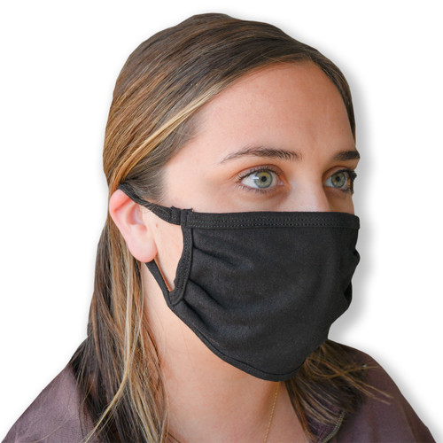 Cotton Knit Face Mask, shown in black and in use