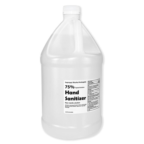 Hand Sanitizer - 75% Isopropyl Alcohol, gallon jug shown