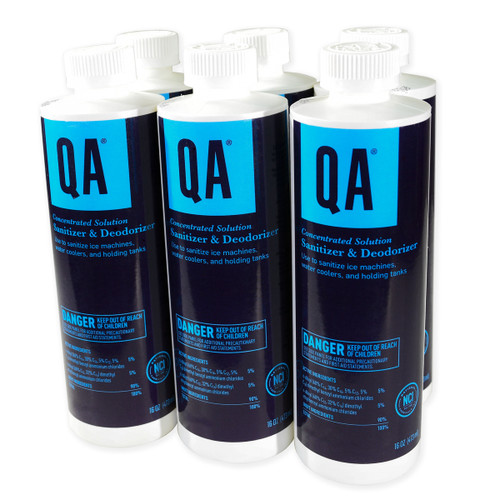 Bulk Sanitizer & Deodorizer QA® Concentrated Solution, six bottles shown