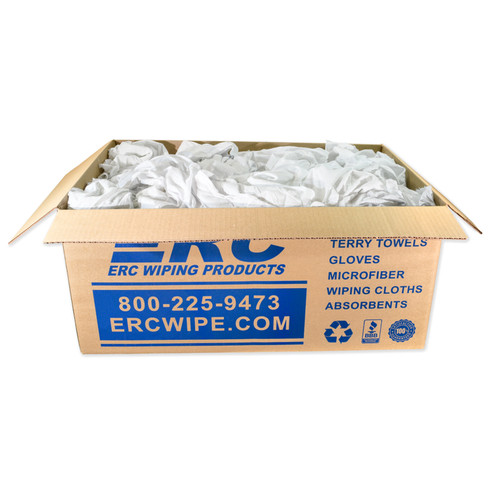 Recycled White Sheeting Rags, shown in a 25 lb box