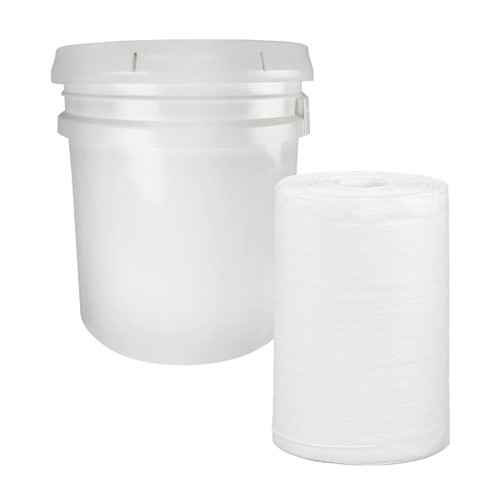 Make Your Own Wet Wipes Kit, bucket & 1 roll shown