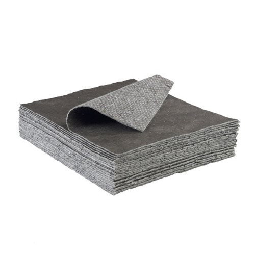 Universal Absorbent Pads Meltblown Heavy Weight 15x18 Gray, shown in a stack