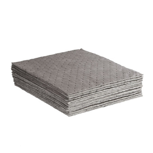 Universal Absorbent Pads Meltblown Lightweight 15x18 Gray, shown in a stack