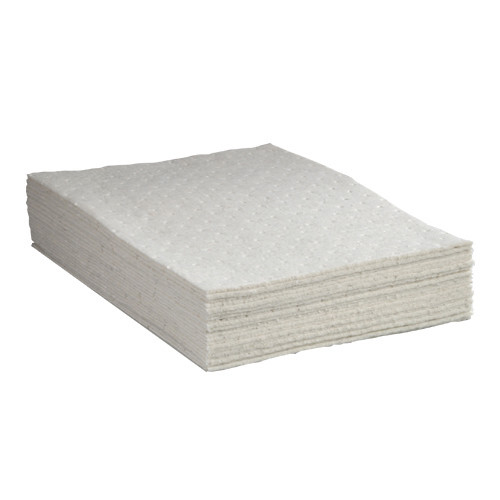 Universal Meltblown Heavyweight Absorbent Pads 15 in x 18 Gray, shown in a stack