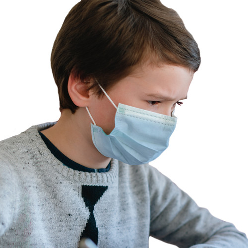 Disposable Kids Face Mask, shown from the side
