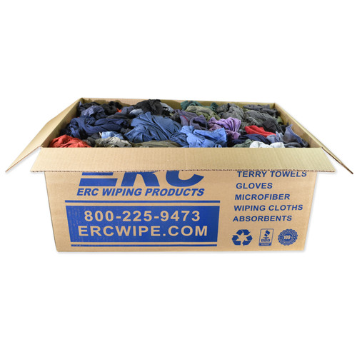 Polo/T-shirt Rags Bulk Recycled Mixed Colors, shown in a 25 lb box