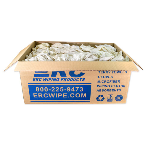 Polo/T-shirt Rags Bulk Recycled White, shown in a 25lb Box