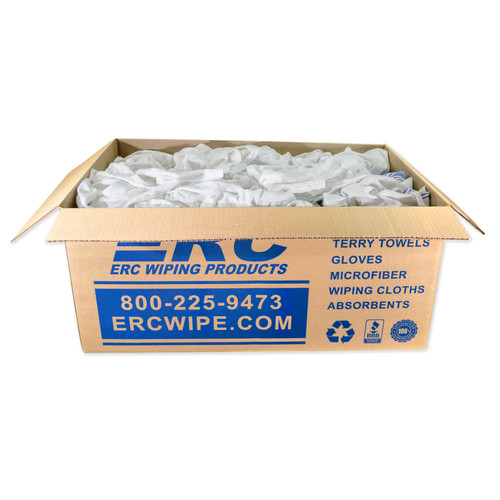 Flannel Cleaning Rags, Recycled White, shown in a 25 lb. box