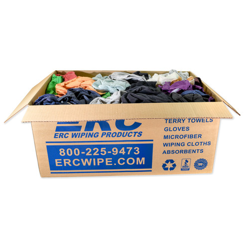 Mixed Color Sweatshirt Rags, shown in a 25 lb box