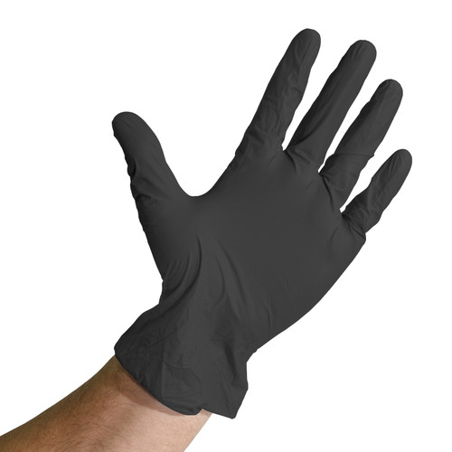 Black Vinyl Nitrile Blend Gloves Powder Free, shown palm out