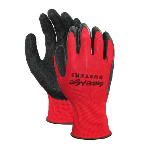 Latex Palm Coated Nylon/Poly Gloves, shown front and back