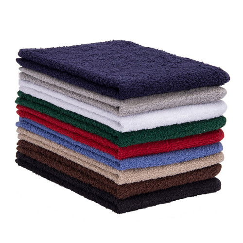 16x27 Heavyweight Cotton Terry Car Wash Body Towels, shown in a stack with one of each color