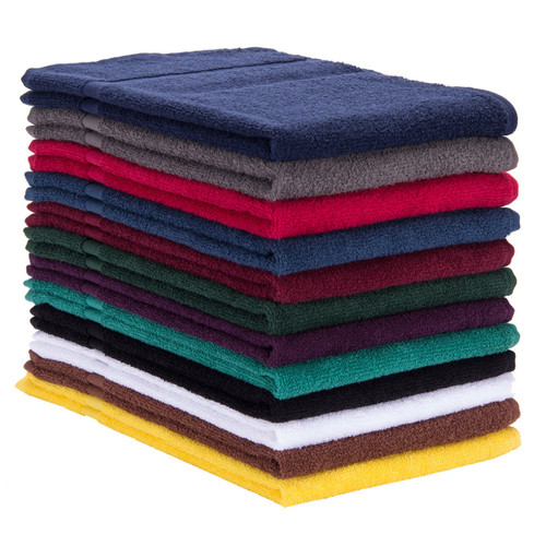 Premium Cotton Terry Car Wash Body Towels 16x27 Medium Weight, shown in a stack with one of each color