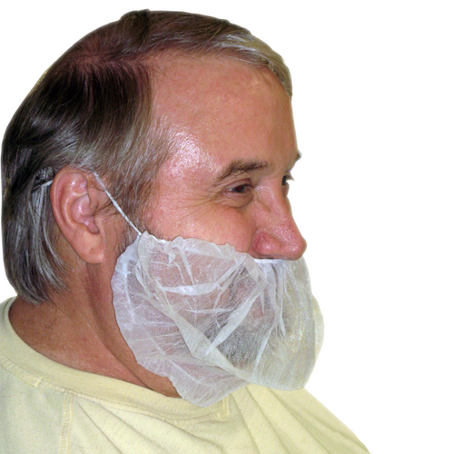 Polypropylene Beard Covers, shown in use