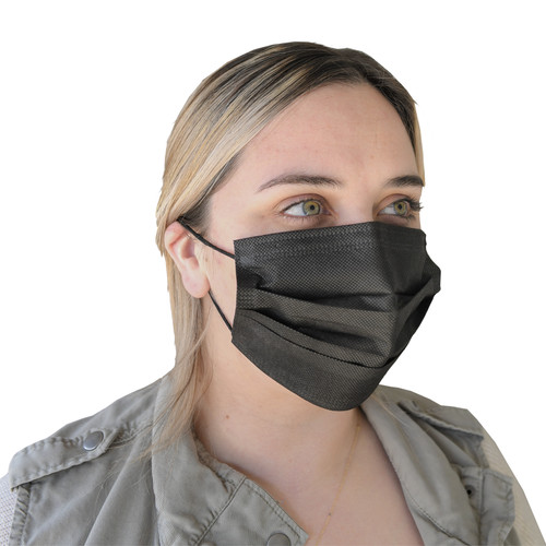 Disposable Black Face Masks, shown in use
