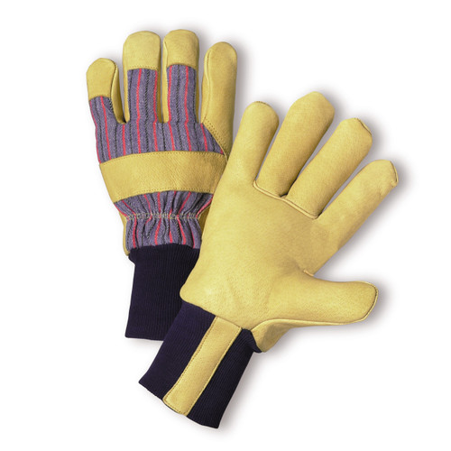 Pigskin Leather Palm Gloves Premium Grain, shown front and back