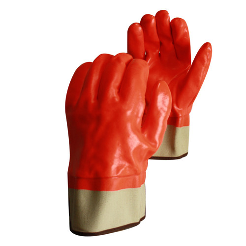 PVC Coated Cotton Jersey Gloves White Orange, shown front and back