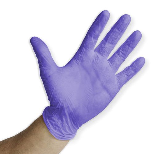 Blue Violet Nitrile Glove, shown palm out