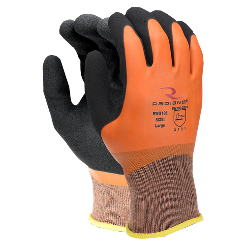 Full Latex Coated Work Gloves, shown front and back